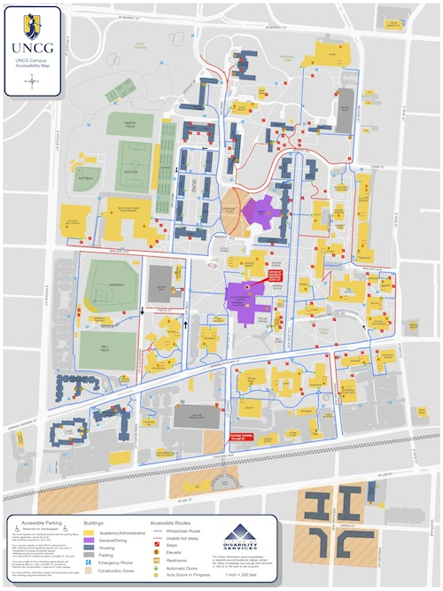 Unc Greensboro Campus Map.Campus Accessibility Map Office Of Accessibility Resources Services